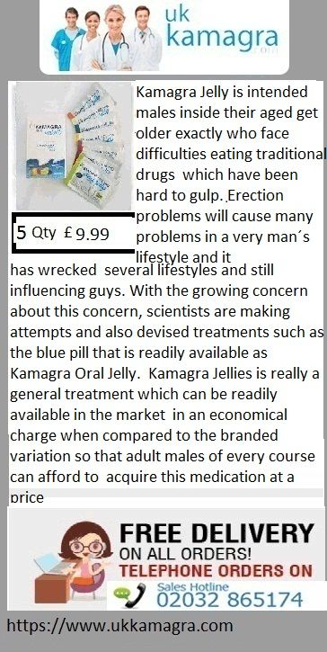 Kamagra Jelly is intended males inside their aged get older exactly who face difficulties eating traditional drugs   which have been hard to gulp. Erection problems will cause many problems in a very man´s lifestyle and it has wrecked   several lifestyles and still influencing guys. With the growing concern about this concern, scientists are making   attempts and also devised treatments such as the blue pill that is readily available as Kamagra Oral Jelly.
