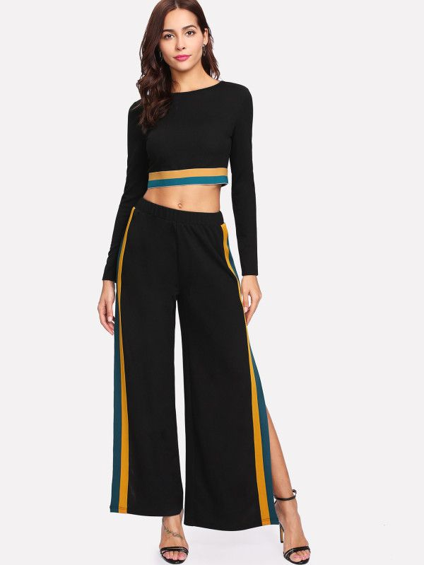 54fcfec7d2d Striped Hem Crop Top   Split Side Palazzo Pants Set -SheIn(Sheinside ...