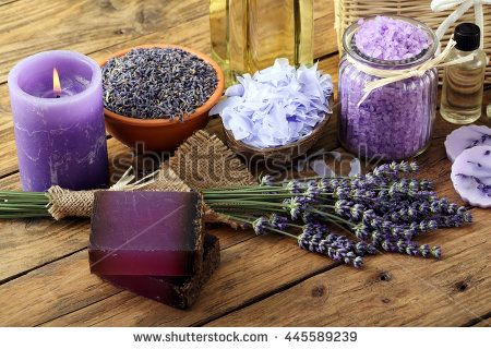 beauty product with lavender, soap and bath salts on wooden table background  - stock photo