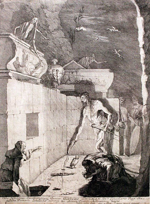 Saul speaking to Samuel's spirit at the Witch of Endor, 1675 by Gabriel Ehinger.