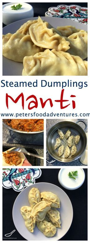 Central Asian Manti Steamed Dumplings popular in Russia, Kazakhstan and Uzbekistan. Delicious with sour cream