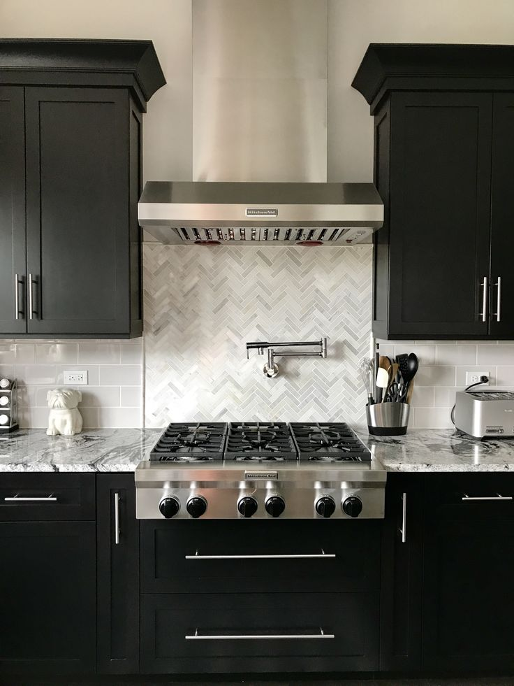 Espresso Cabinets With Light Grey Subway Backsplash