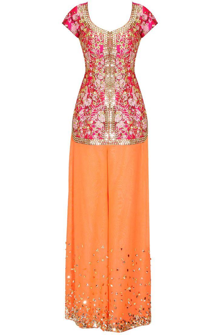 Hot pink floral printed kurta with orange palazzo pants available only at Pernia's Pop Up Shop.#fashion #HappyShopping #love #shopnow #papadontpreach #festive #new #perniaspopupshop
