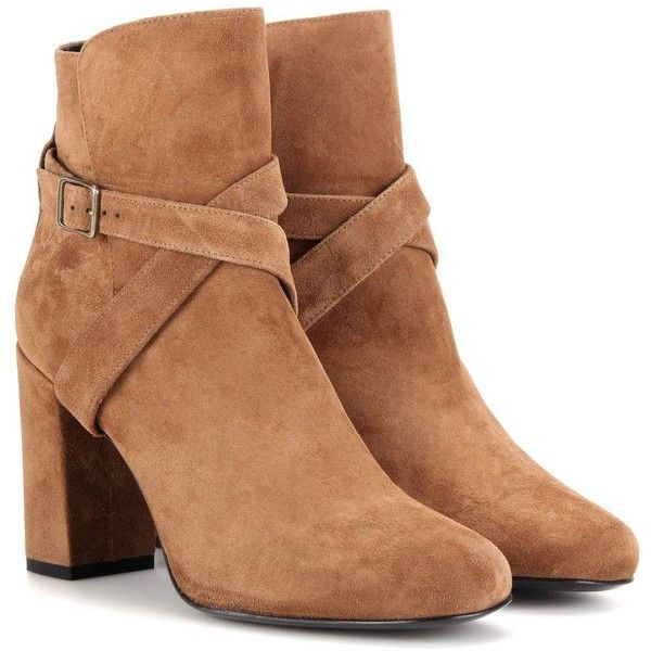 Saint Laurent Babies 90 Suede Ankle Boots ($1,050) ❤ liked on Polyvore featuring shoes, boots, ankle booties, brown, suede booties, brown bootie, short boots, brown booties and suede ankle bootie
