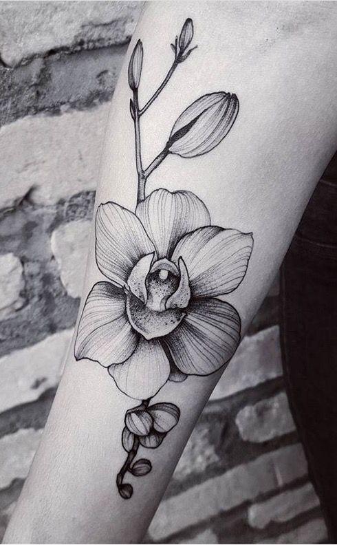 Felipe Kross orchid flower tattoo