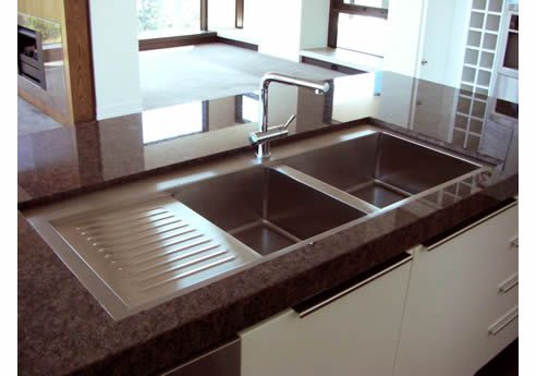 Britex Stainless Steel Kitchen Sinks    I love this because, theres an actual spot for your dishes that you want to just let air dry! GENIUS!