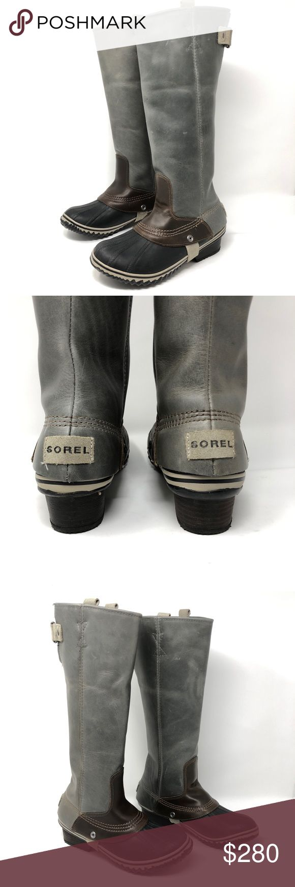 Sorel Slimpack Gray Leather Riding Boots SZ 8 SOLD OUT style. Hard to find in this condition. Beautiful well crafted leather that will last for a long time.   Preowned. Very gentle signs of wear. Appears to have been worn once or twice. No scuffs, holes or foul odors. Light tread wear. Some scattered marks— appears to be water marks. Black line on heel (see last three pictures). Please see pictures for detailed condition of item. Shipping from smoke free environment. Please do not hesitate…