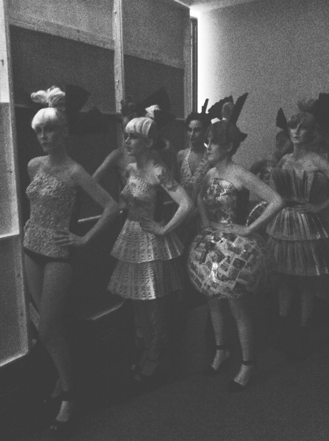 """This photo, taken on Thursday night, shows models for local designer Leslie Pennel's clothing line, Esque. Pennel did something bold and different this year: she created her entire show out of paper! So fabulous."""