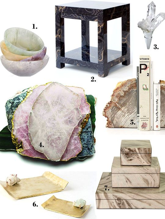 Decorating with rocks gems and minerals from apartment therapy