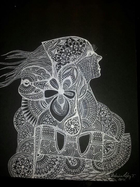 Dibujo en papel bond negro y lápiz blanco pilot choose 07 de @acinorevzepol