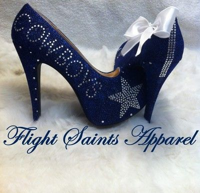 Blue Glitter High Heel Almond Toe Rhinestone Dallas Cowboys Heels