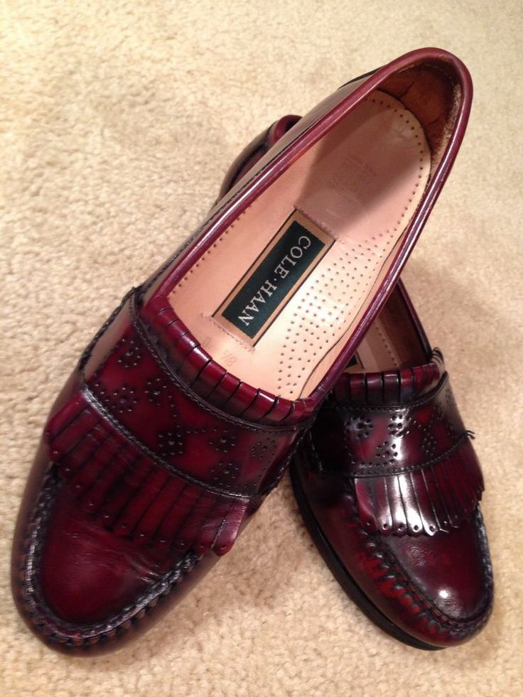 Mens COLE HAAN Burgundy Leather Tassel Loafers 8.5 D Oiled Dress Shoes  Fringe