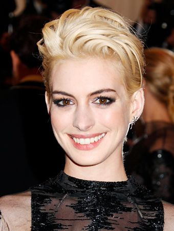 Anne Hathaway's newly-blonde pixie is starting to grow out. Get your own best hair color and cover grays at home at www.eSalon.com