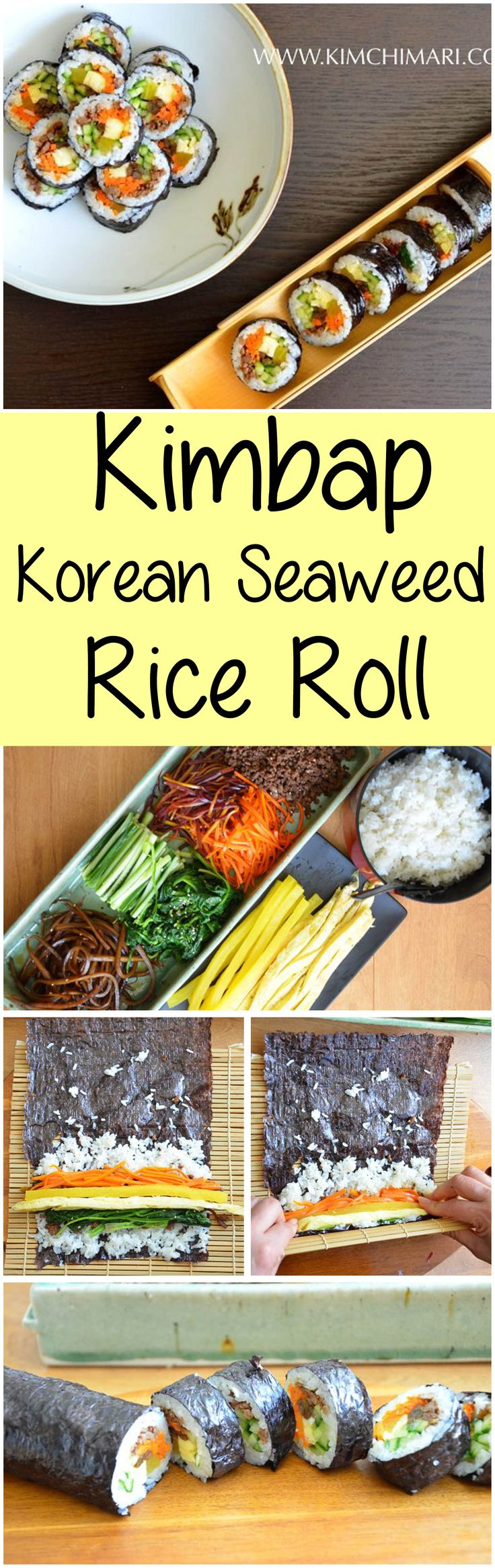 Kimbap is made by rolling meat, vegetables and pickles in rice wrapped in dried seaweed sheets.  A favorite picnic and lunch dish in Korea made in many different choice of fillings. | Kimchimari.com