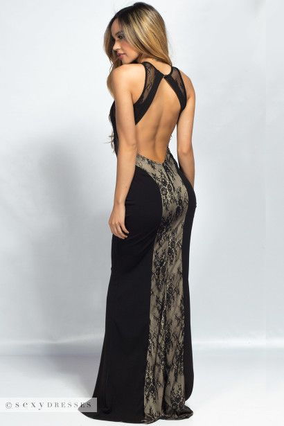 """Madeline"" Black & Nude Lace Inset Open Back Mermaid Maxi Gown"