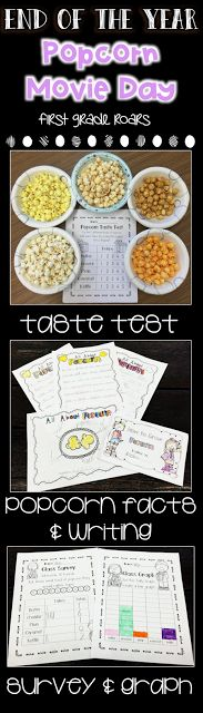 Learning about popcorn can be so much fun.  It is perfect for the end of the year as a themed day.  Taste test popcorn, make a popcorn craft, write about popcorn,  work on words, and  and so much more.  End this fun day with popcorn and a movie. This is perfect for kindergarten, first or second grade.