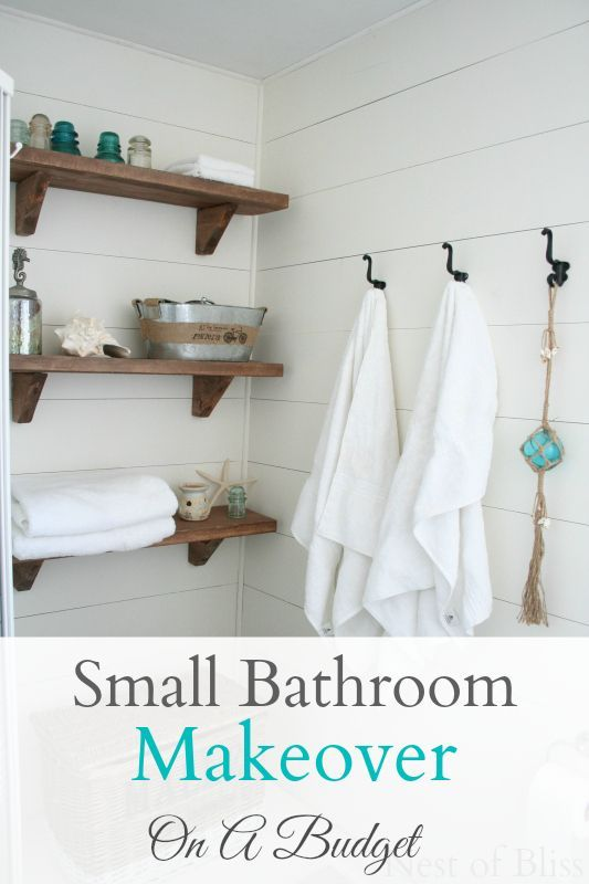 Love this beautiful Beachy Small Bathroom Makeover - Nest of Bliss