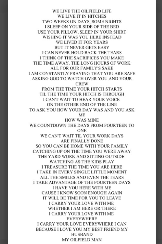I wrote this poem for my Oilfield man!! Thought I'd share it with all the oilfield wives out there!! #oilfieldwives #oilfield #roughnecks