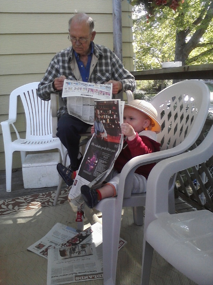 Two Pals reading the paper