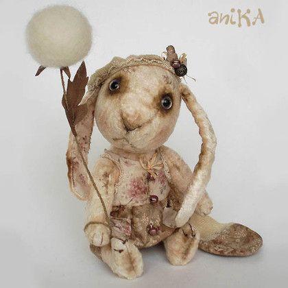 Зайки-Одуванчики - зайка,одуванчик,тедди зайчик,плюш винтажный,опилки древесные