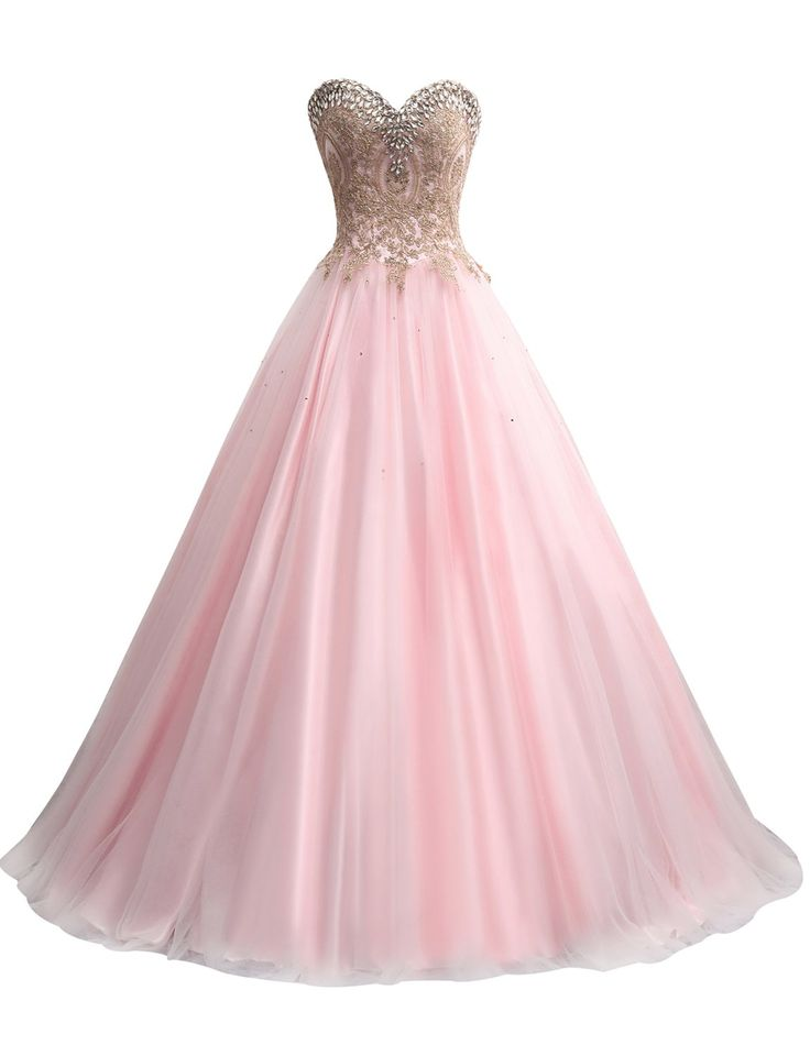 Erosebridal Gold Embroidery Ball Gown Quinceanera Dresses Sweet 15 Dresses US 8 Soft Pink