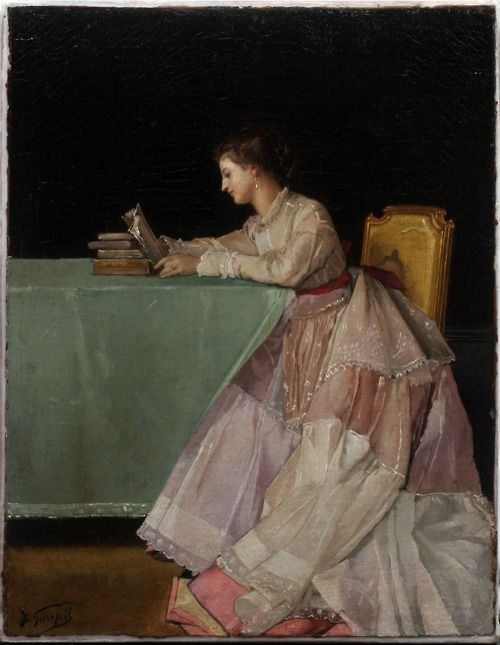 Seated Woman, Jules-Adolphe Goupil - this matches my Women Reading board too, but I love the folds and drape of the fabric and the straight hanging table cover. S