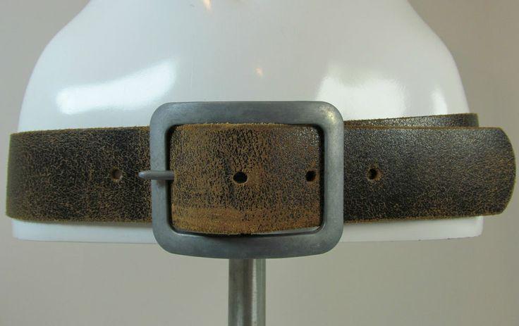 Vintage look Jack Jones black brown distressed effect wide leather belt R11916