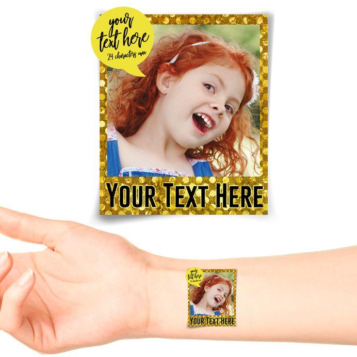 Golden Lights Polaroid Photo Personalised Tattoo #1180 (20 pack)