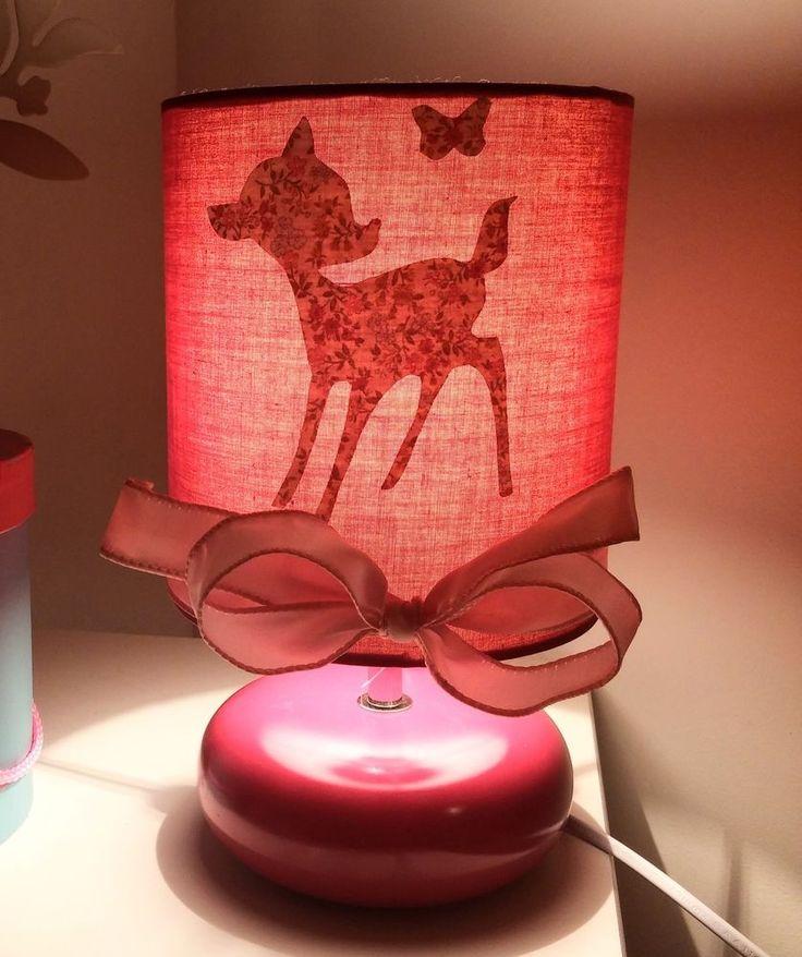 Lampe de chevet ceramique enfant personnalisée prénom rose bambi
