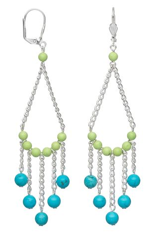 Earrings with Chalk Turquoise Gemstone Beads and Silver-Plated Chain - Fire Mountain Gems and Beads