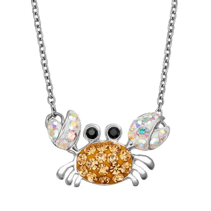 Crystal Silver-Plated Crab Necklace, Women's, Brown