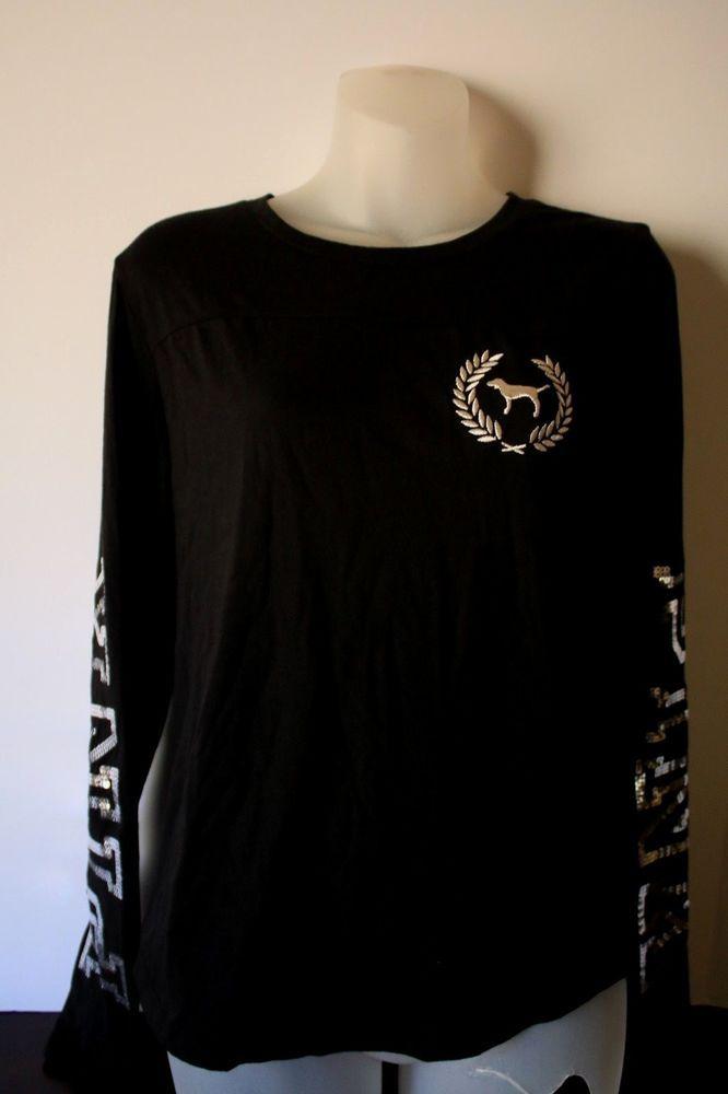 6fe496c76bcab3 Victoria's Secret PINK Black Silver Long Sleeve Bling Glitter DOG Logo  Shirt XS #VictoriasSecret #TShirt