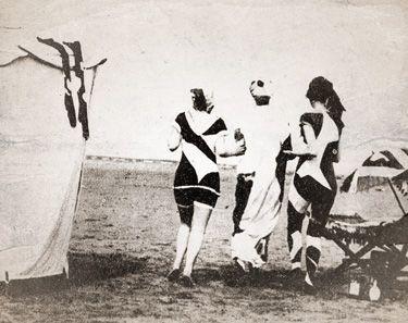 British women beach goers dressed in dazzle-style swimwear appeared - The New York Tribune, June 15, 1919