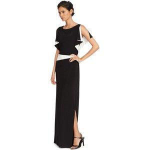 Lauren Ralph Lauren Flutter-Sleeve Colorblocked Gown