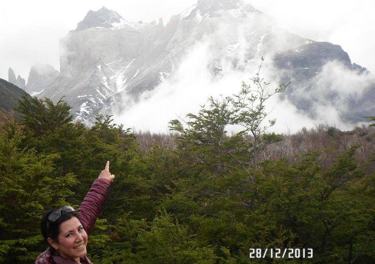 Trekking Valle Francés, vista hacia Los Cuernos del Paine.