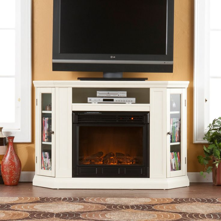 Southern Enterprises Claremont Convertible Ivory Electric Fireplace Media Console - FE9314