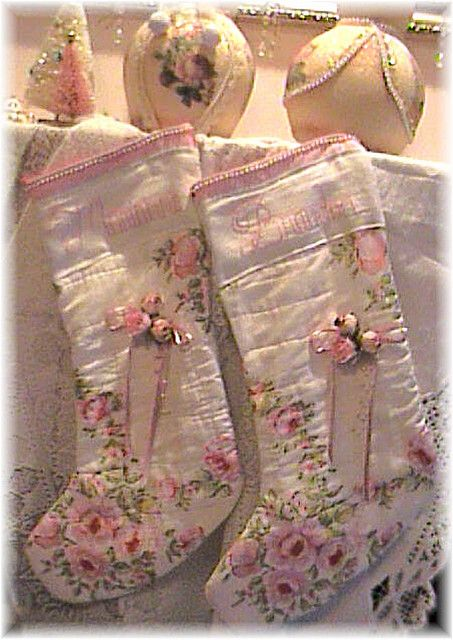 Shabby Pink Rose Stockings ~ could line old pillowcases or sheets and it would be perfect, even using the edging for the top and stitch name!