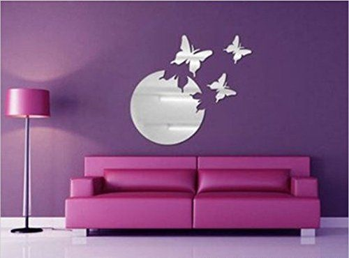 Coavas® Silver 3 Butterflies Flying From The Round Moon Sun Crystal  Reflective DIY Mirror Effect. Diy MirrorMirror WallsMirror On ...