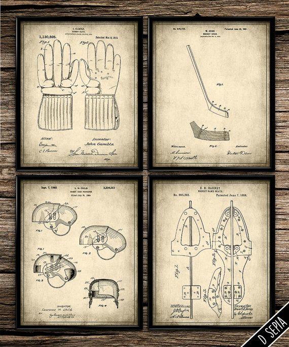 Patent Hockey Equipment Set   Vintage Prints   Patent Print   Hockey   Man Cave   Home Decor   Printable Wall Art   8x10  
