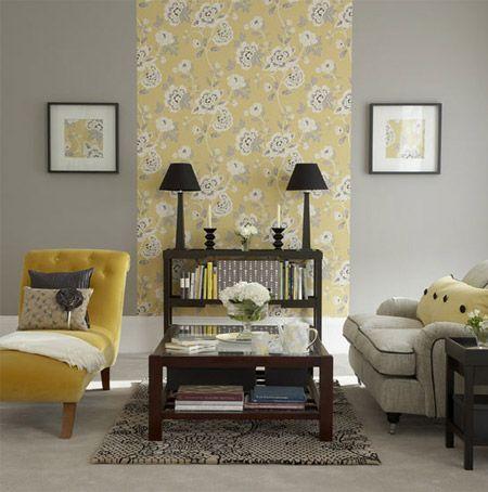 Gray and yellow living room.
