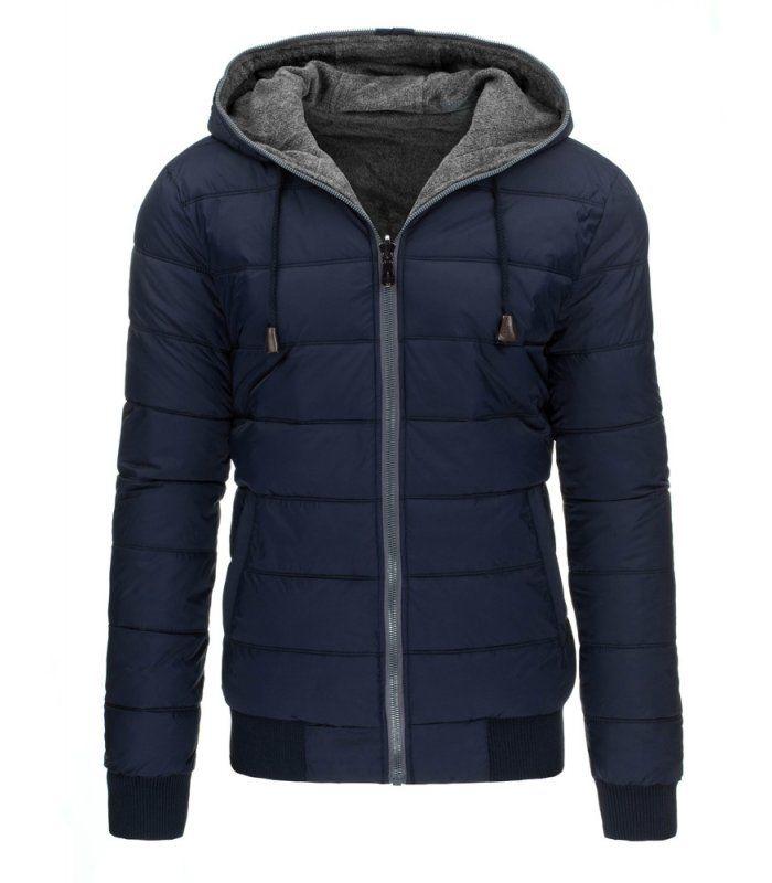 Tmavomodrá obojstranná pánska zimná bunda s kapucňou. Zapínanie na lesklý zips. Kapucňa regulovaná šnúrkou. Dolná časť a rukávy ukončené lemom. Dve vonkajšie vrecká po stranach. Pohodlný strih. Vhodné ako neformálne oblečenie.