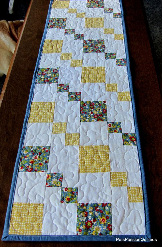 Country Patchwork Quilted Table Runner Blue and Yellow