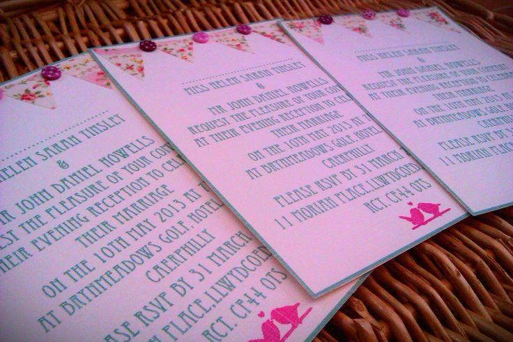 Floral bunting wedding invitations.
