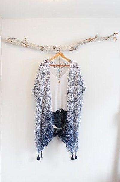 Long bohemian kimono * With tassels * Flower pattern * by NORTHBOHEME on Etsy https://www.etsy.com/listing/238220120/long-bohemian-kimono-with-tassels-flower