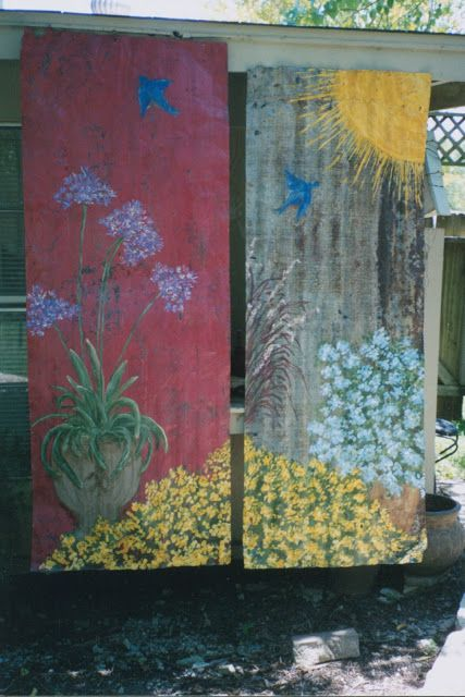 PAINTING ARTWORK ON RUSTY OLD CORRUGATED ROOF TINS- awesome!! Already had plans of doing this on the old barn by our garden!!!