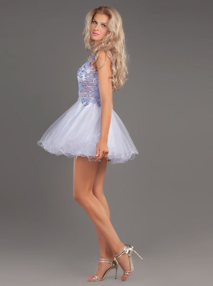 Short dress of tulle with lace and beading for special appearances ... http://www.mikael.gr/en/new-collection/55103.html