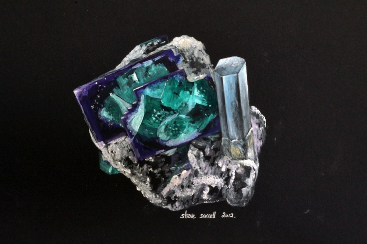 Steve Sorrell: My last painting for 2012. Fluorite and aquamarine from Erongo, Namibia. Painted using water-mixable oils on black card. More art here: http://mineralart.blogspot.com.au.