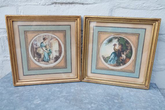Lot of 2 framed etchings engraved by Gustave Sclumberger in France during the 19th century.  Their frame is made of golden wood, the cardboard passepartout is beige and blue.  The first one (picture 2) is based on a François Boucher painting and is intitled The home. The second one (picture 3) from a Honoré Fragonard painting is intitled: The love cipher.  Both have a label on the back marked:  Guaranteed original etching by G. Schlumberger.  Very good vintage condition: no lack, no chip…