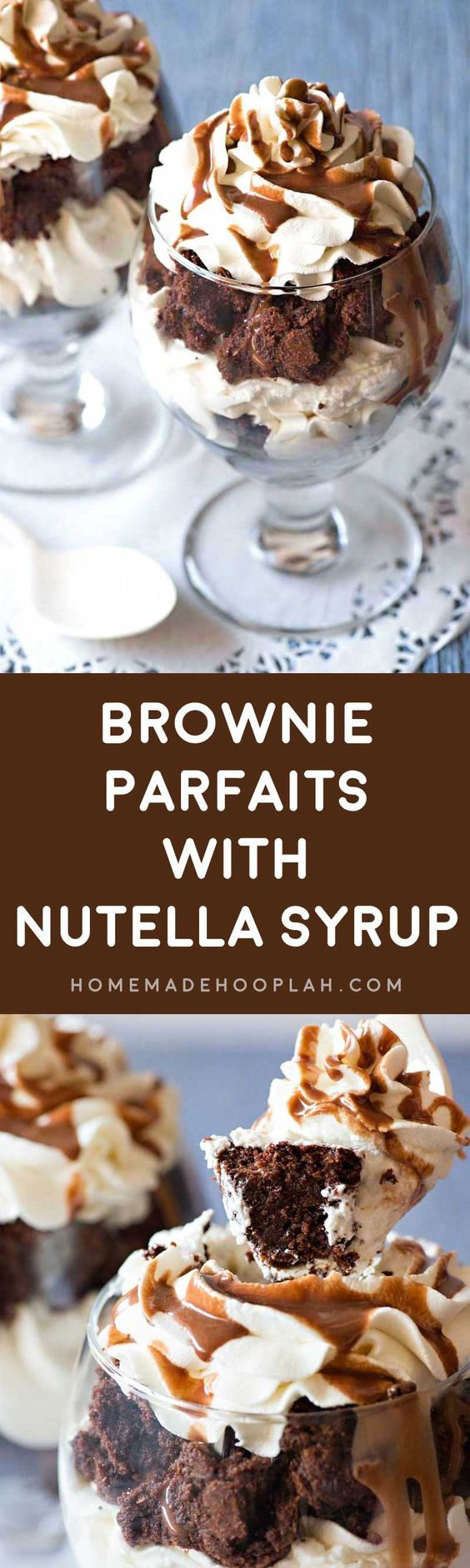 Brownie Parfaits with Nutella Syrup! Fresh baked brownies, homemade whipped cream, and tasty Nutella syrup come together to make these sinfully delicious brownie parfaits! | HomemadeHooplah.com