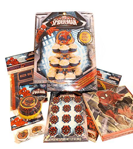 Spiderman Mega Birthday Party Supplies -Napkins Goodie Favor Bags Treat Stand Cupcake Cups Icing @ niftywarehouse.com #NiftyWarehouse #Spiderman #Marvel #ComicBooks #TheAvengers #Avengers #Comics